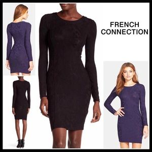 FRENCH CONNECTION LONG SLEEVE JACQUARD KNIT DRESS